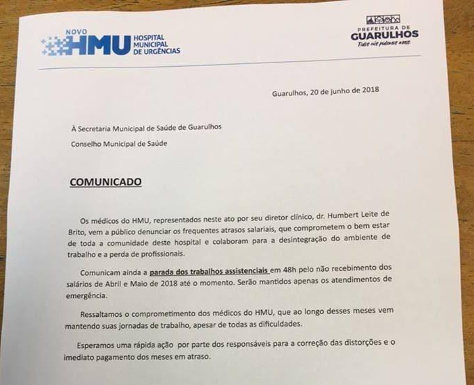 Médicos do HMU ameaçam entrar em greve por falta de pagamento